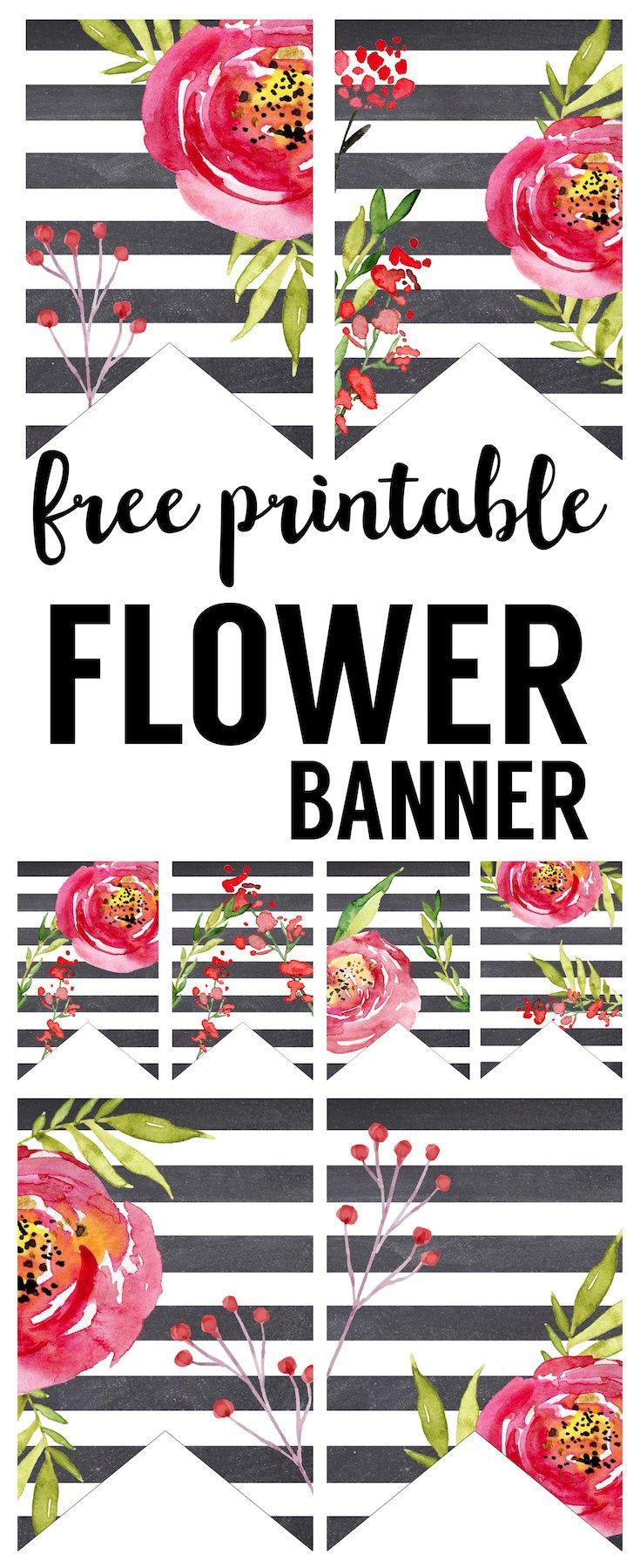 Watercolor Flower Banner Free Printable | Learning Center Bulletin - Free Printable Wedding Decorations