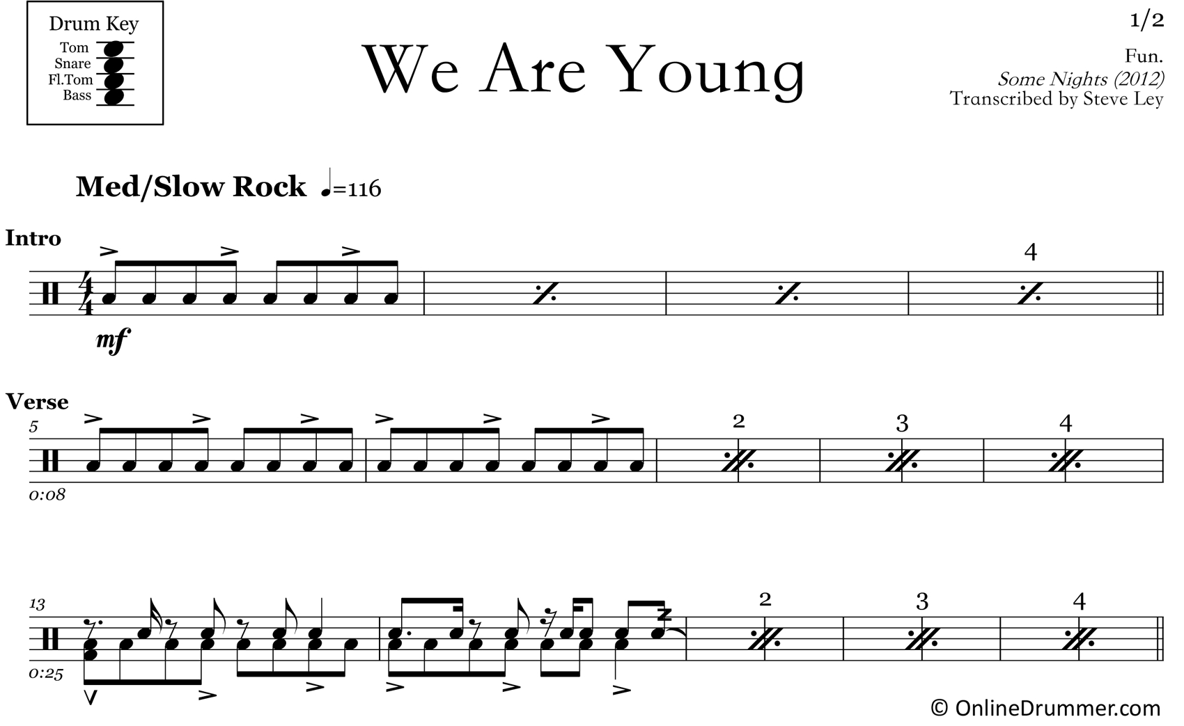 We Are Young – Fun – Drum Sheet Music – Onlinedrummer - Free Printable Drum Sheet Music