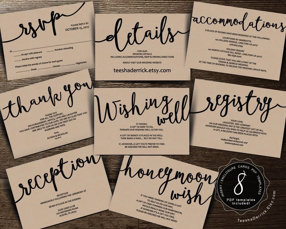 Wedding Insert Cards Pdf Template (Instant Download), Enclosure Card - Free Printable Enclosure Cards