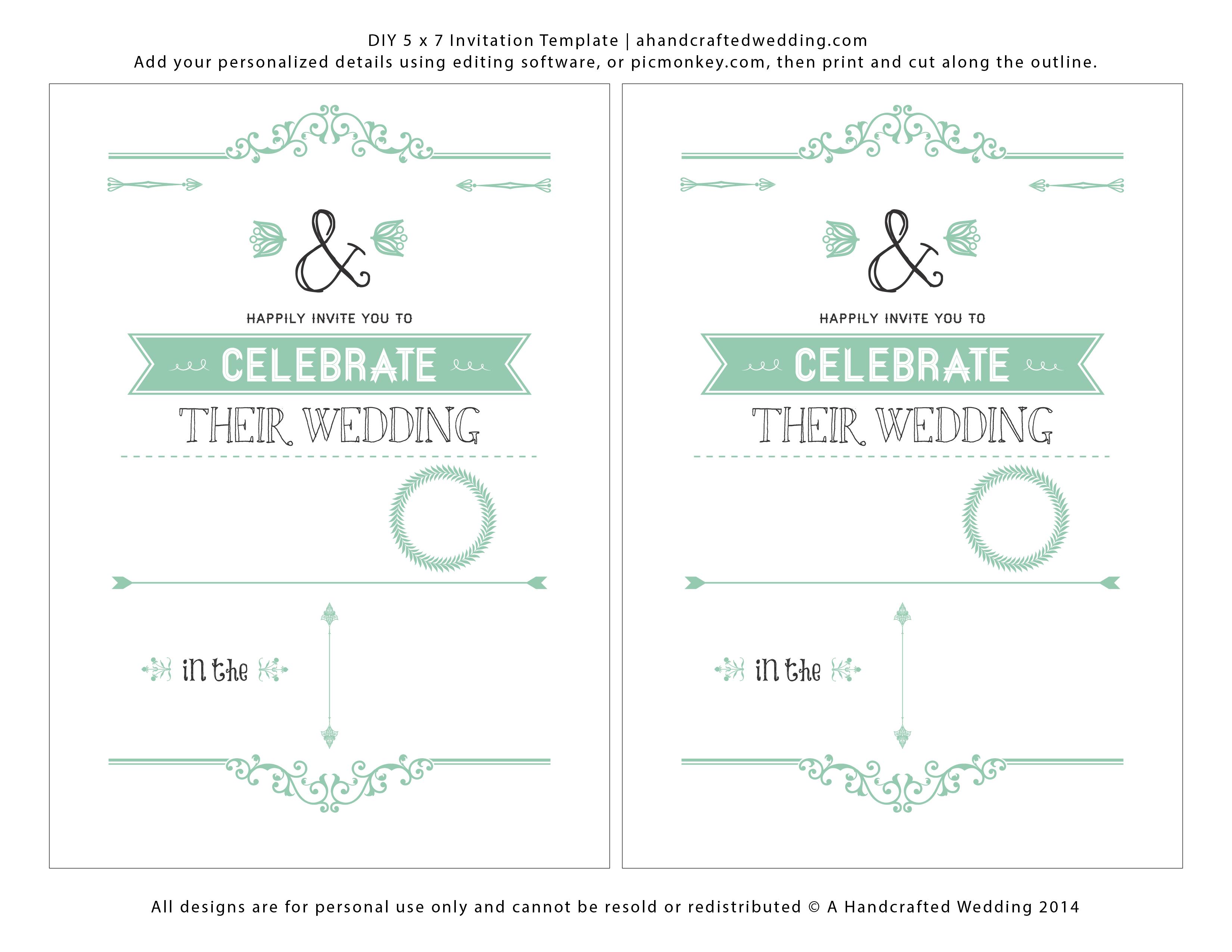 Wedding Invitation Templates Free Download | Marina Gallery Fine Art - Printable Invitation Templates Free Download