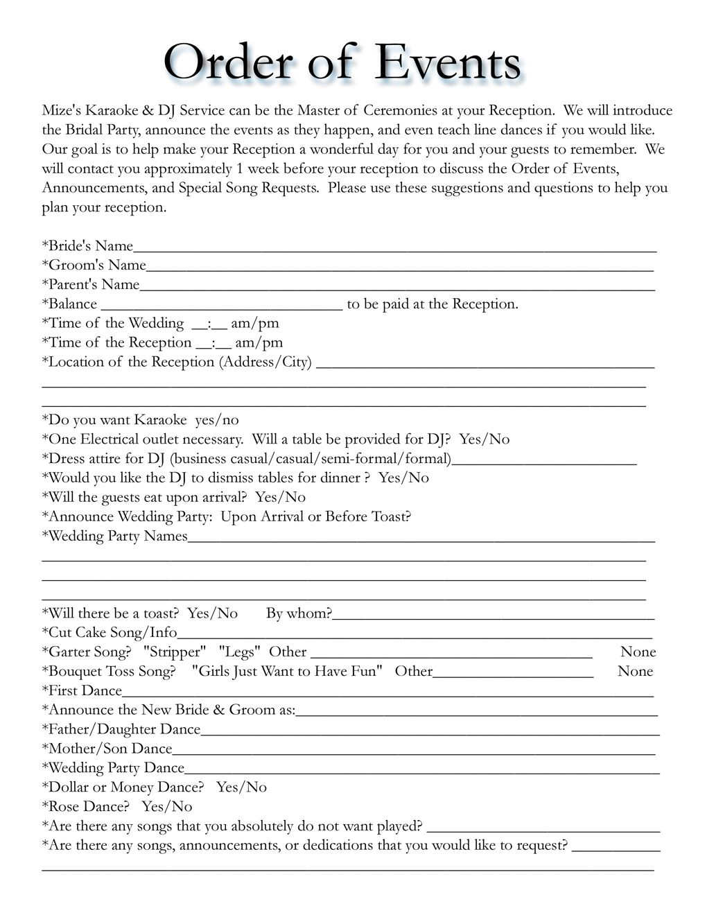 Wedding Itinerary Templates Free | Wedding Template | Mobile Dj - Free Printable Wedding Party List