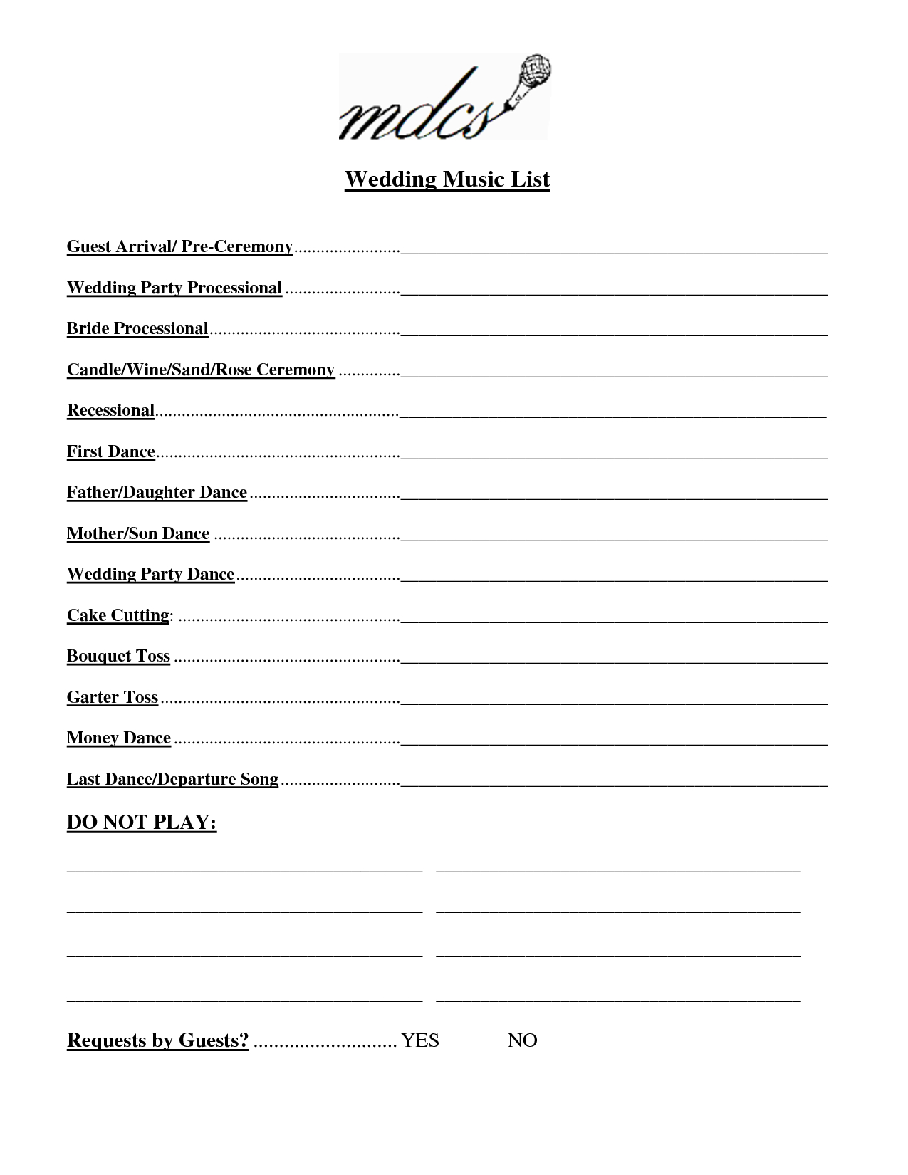 Wedding Party List Template Free | Fosterhaley Wedding Music List - Free Printable Wedding Party List