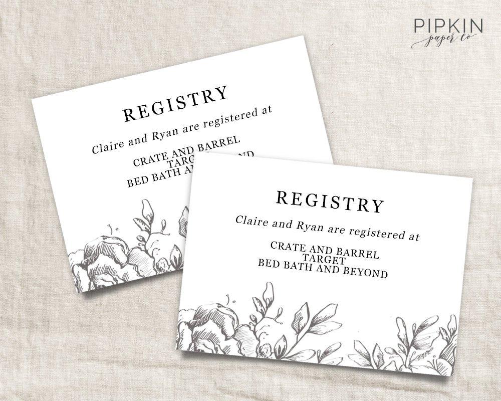 Wedding Registry Card Wedding Info Card Download Registry   Etsy - Free Printable Registry Cards