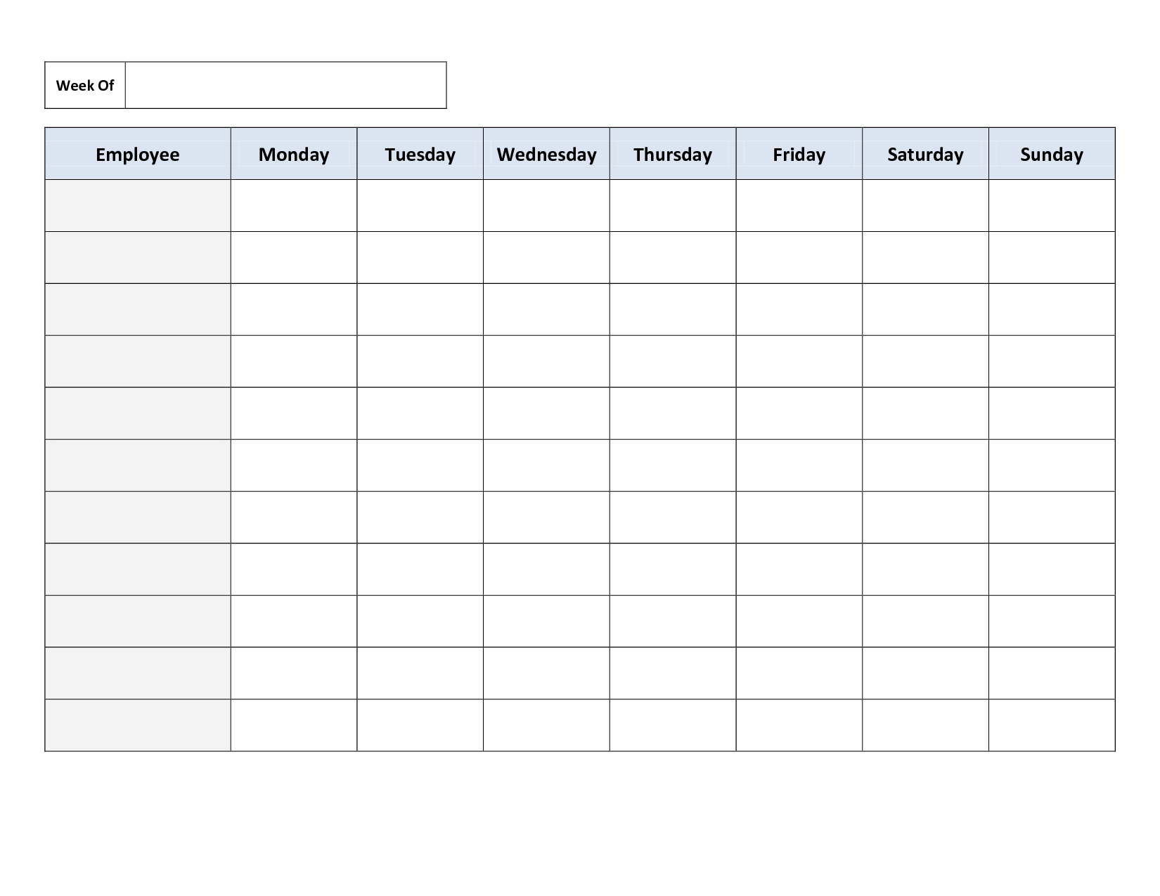 Weekly Employee Work Schedule Template. Free Blank Schedule.pdf - Free Printable Schedule