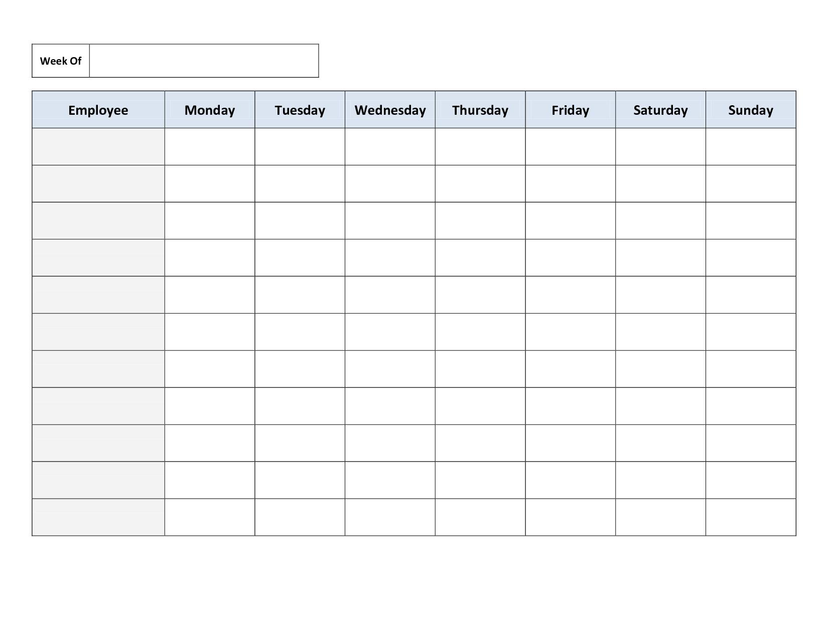 Weekly Employee Work Schedule Template. Free Blank Schedule.pdf - Free Printable Weekly Work Schedule