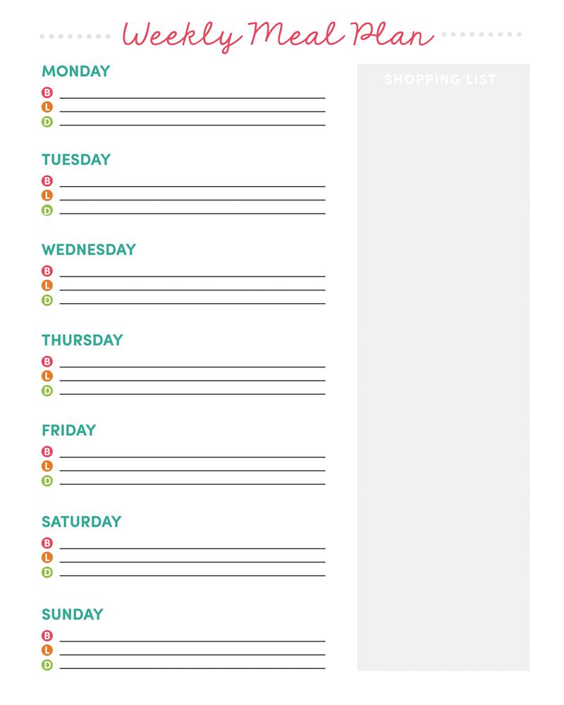 Weekly Meal Planner Printable + Grocery List - Free Printable Grocery List And Meal Planner
