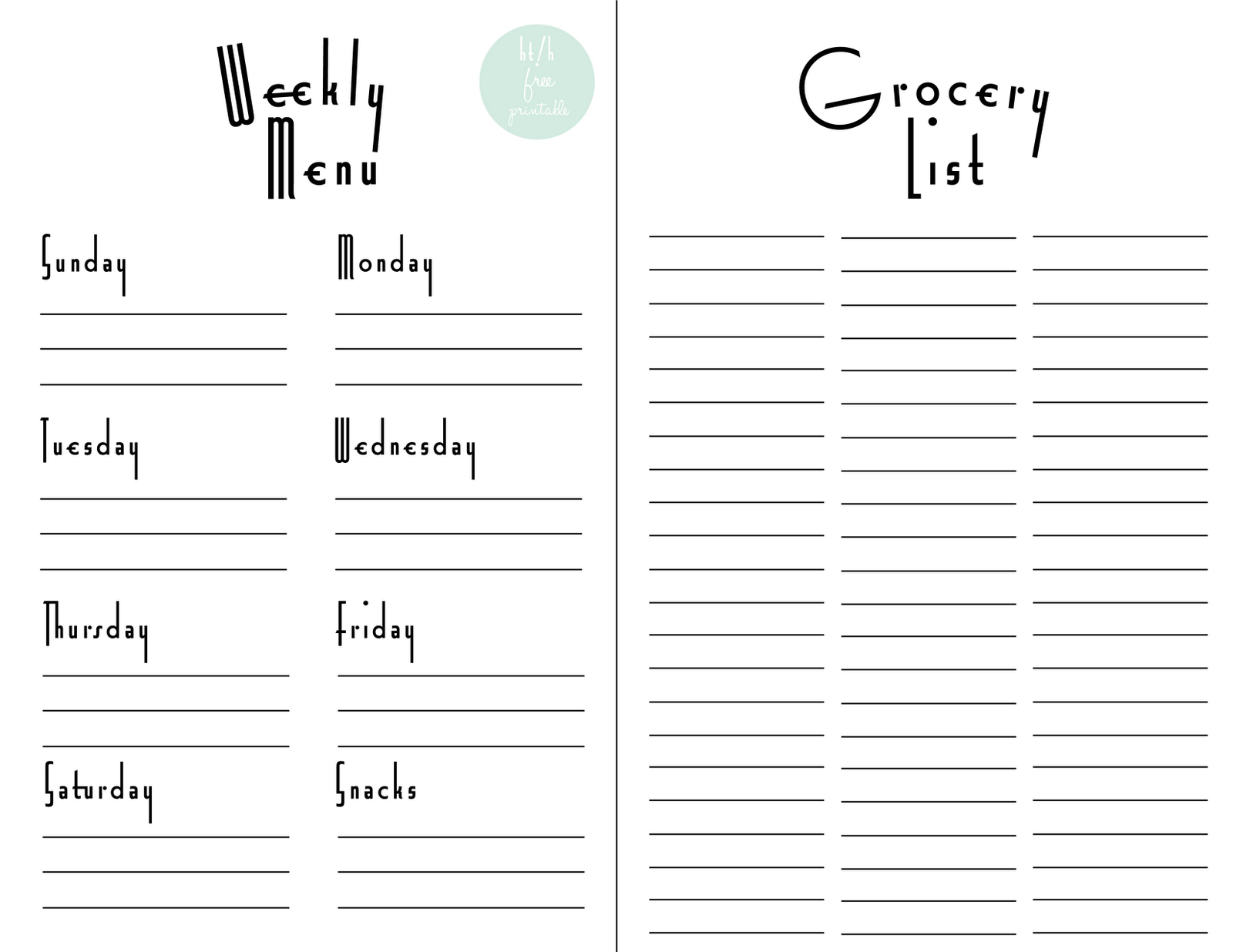 Weekly Menu Planner & Grocery List Free Printable   For The Home - Free Printable Grocery List And Meal Planner