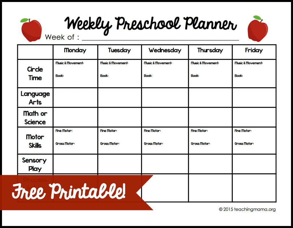 Weekly Preschool Planner {Free Printable} - Free Printable Lesson Plans For Toddlers