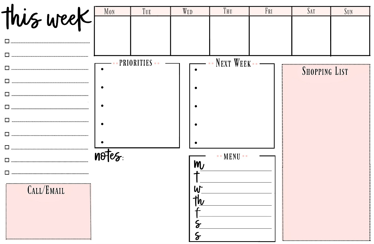 Weekly Printable To Do List For Getting Organized - Weekly To Do List Free Printable