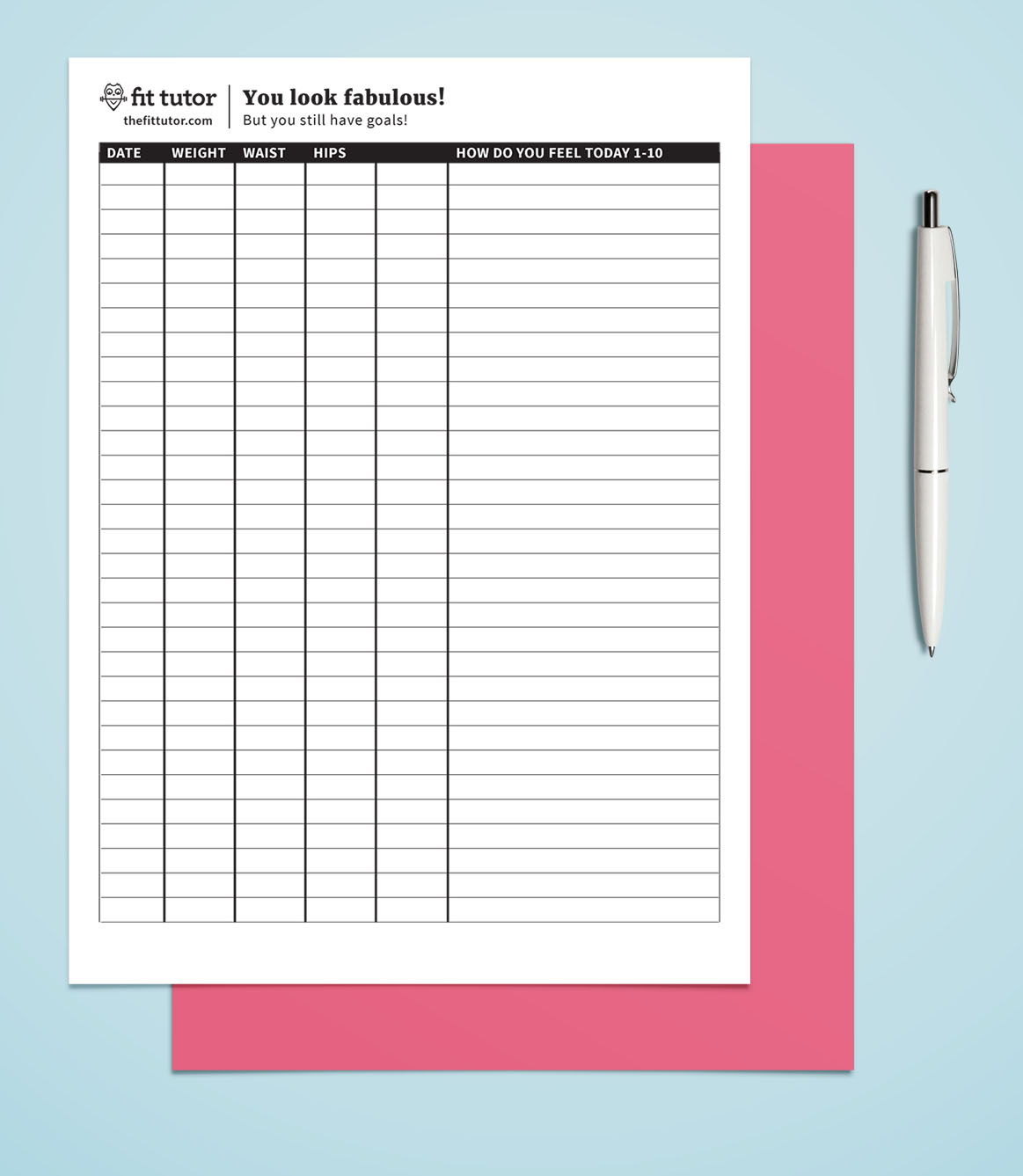 Weight Loss Chart - Free Printable - Reach Your Weight Loss Goals - Free Printable Weight Loss Chart