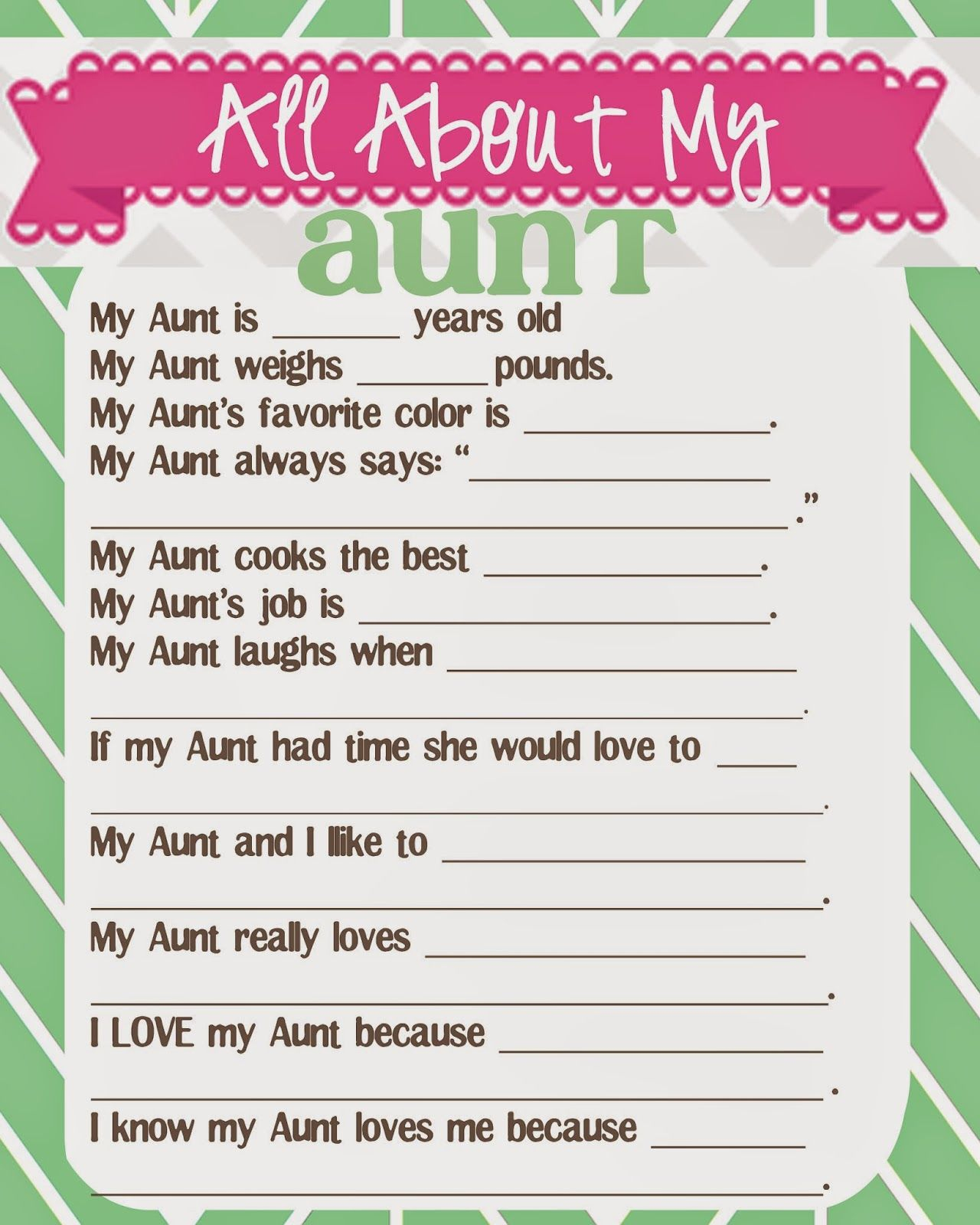 What Does The Cox Say?: Mother's Day Questionnaire And Free - Free Printable Mother's Day Questionnaire