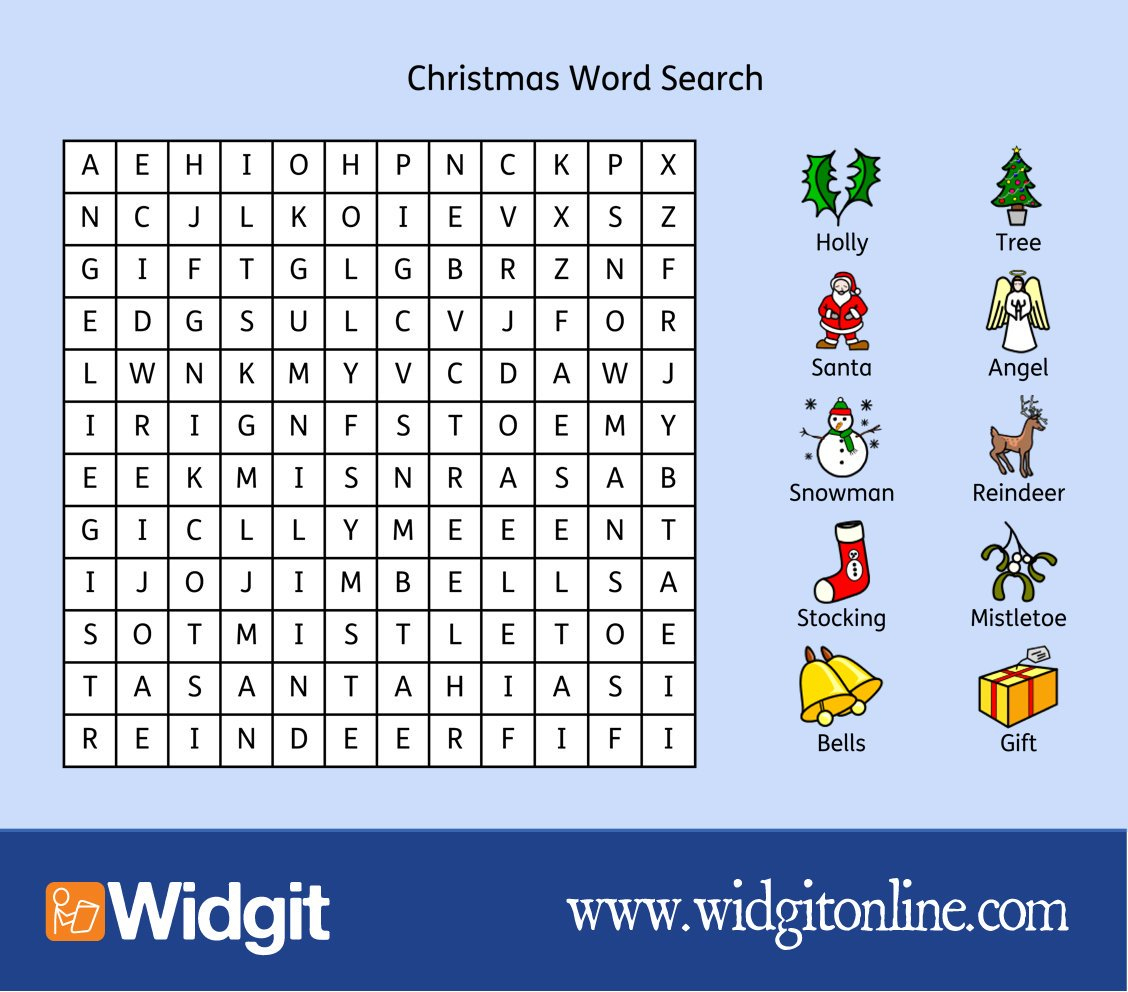 """Widgit Software On Twitter: """"free Christmas Word Search! Download - Free Printable Widgit Symbols"""