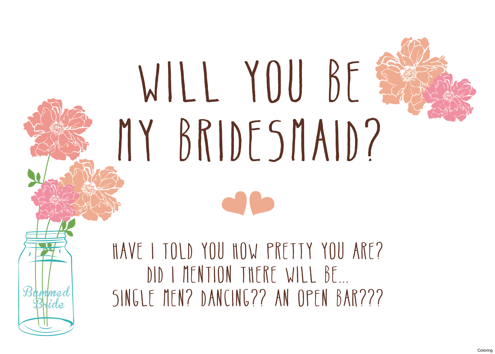 Will You Be My Printable Cards Simple Will You Be My Bridesmaid - Free Printable Will You Be My Maid Of Honor Card