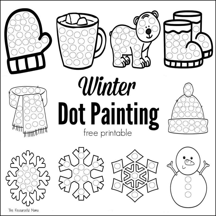Winter Dot Painting {Free Printable} - The Resourceful Mama - Free Printable Winter Preschool Worksheets