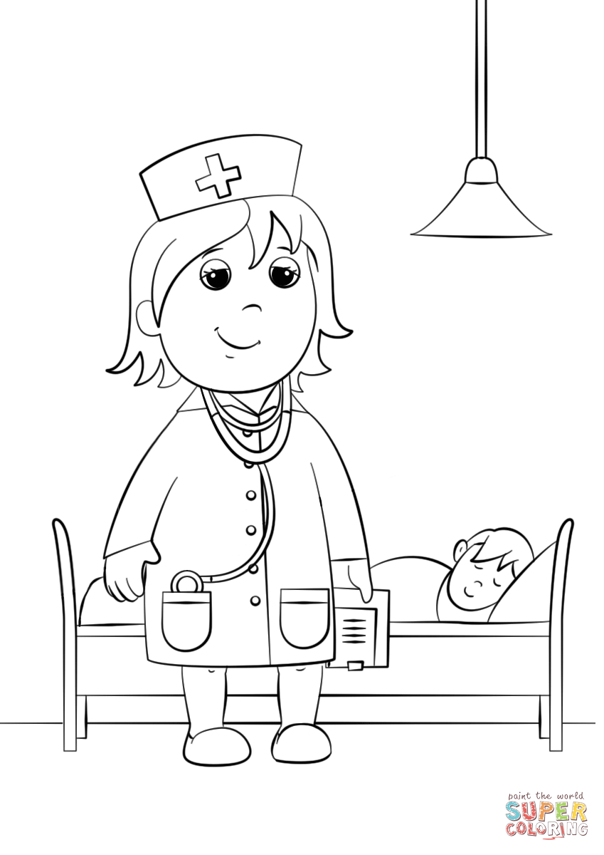 Woman Doctor Coloring Page | Free Printable Coloring Pages - Doctor Coloring Pages Free Printable