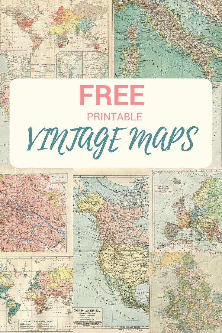 Wonderful Free Printable Vintage Maps To Download | Pinterest | Diy - Free Printable Maps