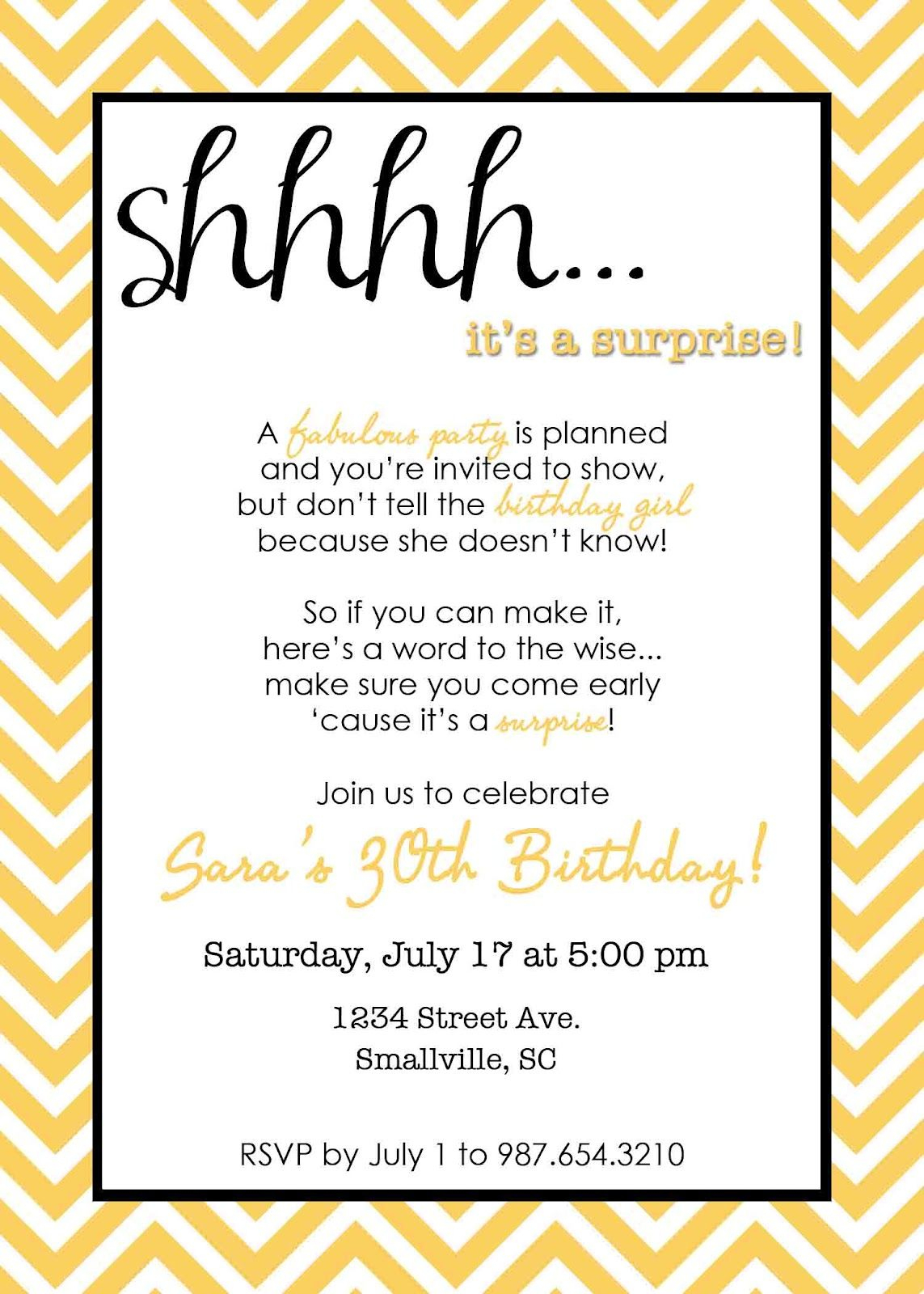 Wording For Surprise Birthday Party | Free Printable Birthday - Free Printable Surprise Party Invitation Templates