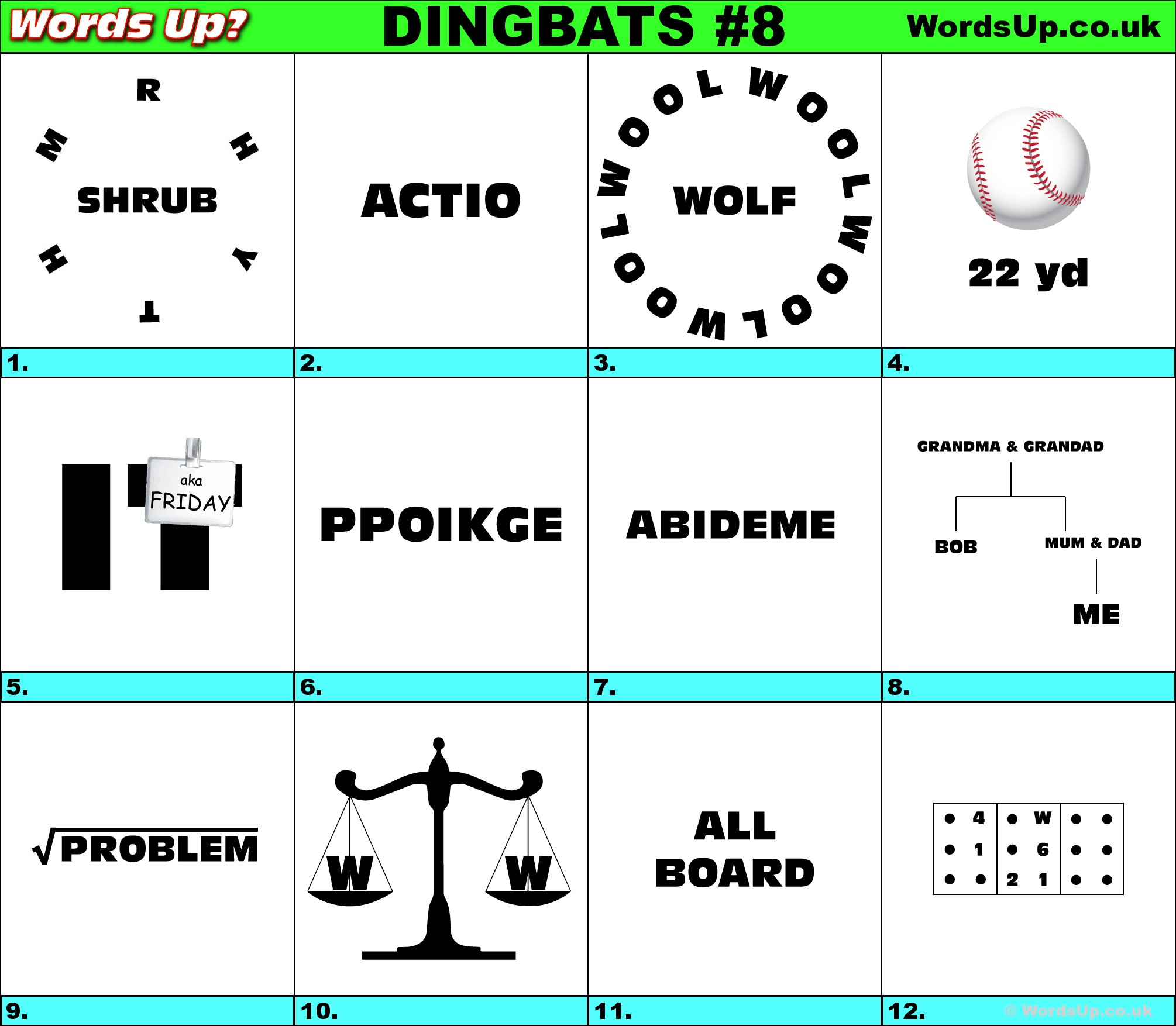 Words Up? Dingbat Puzzles - Free Printable Dingbats Puzzles