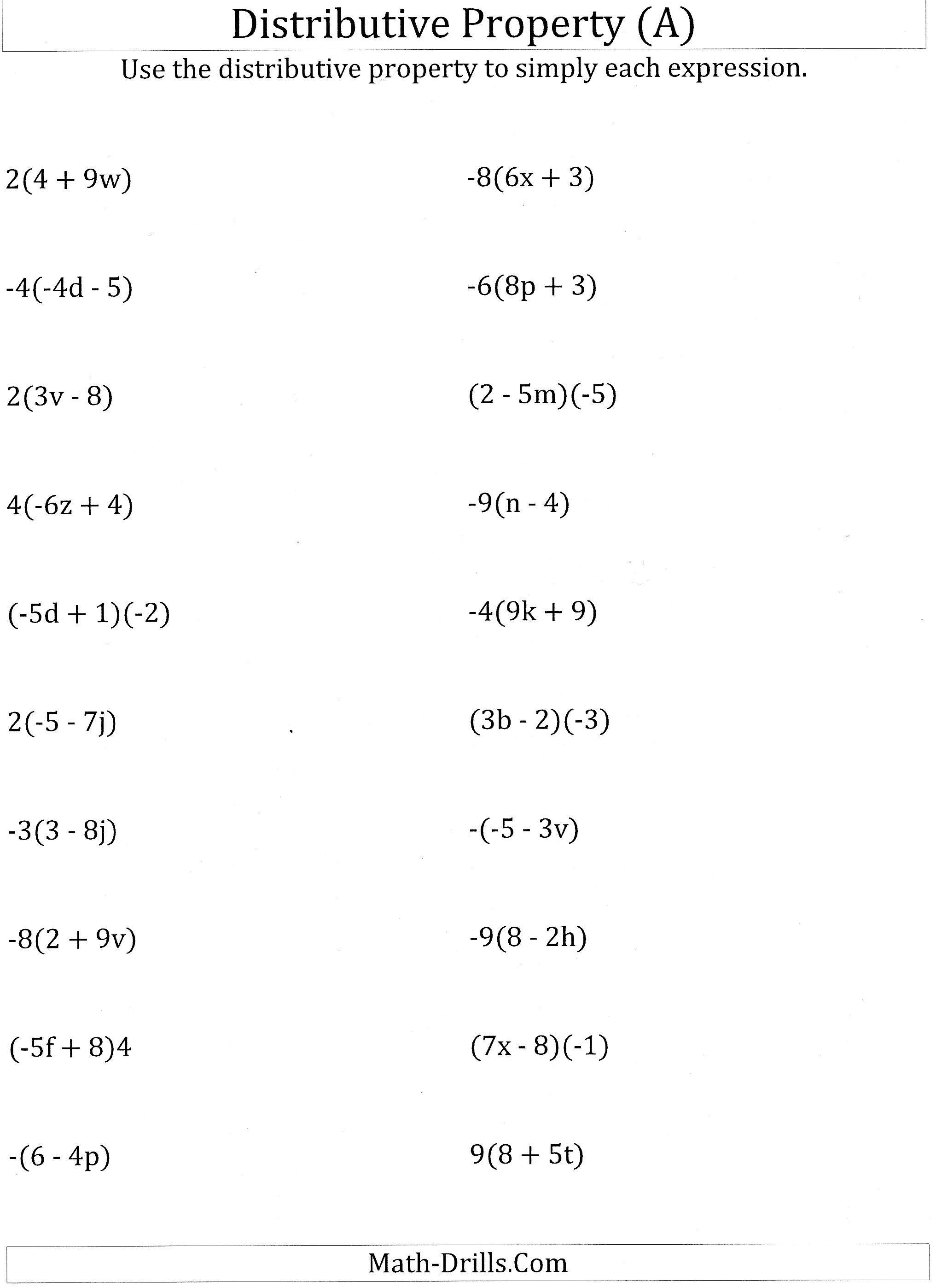 Worksheet #12241584: Math Worksheets Distributive Property – Using - Free Printable Distributive Property Worksheets