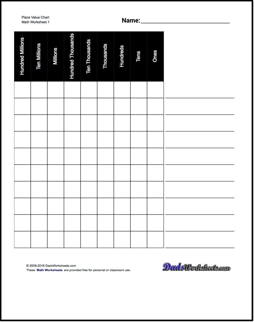 Worksheet. Place Value Chart Worksheet. Worksheet Fun Worksheet - Free Printable Place Value Chart In Spanish