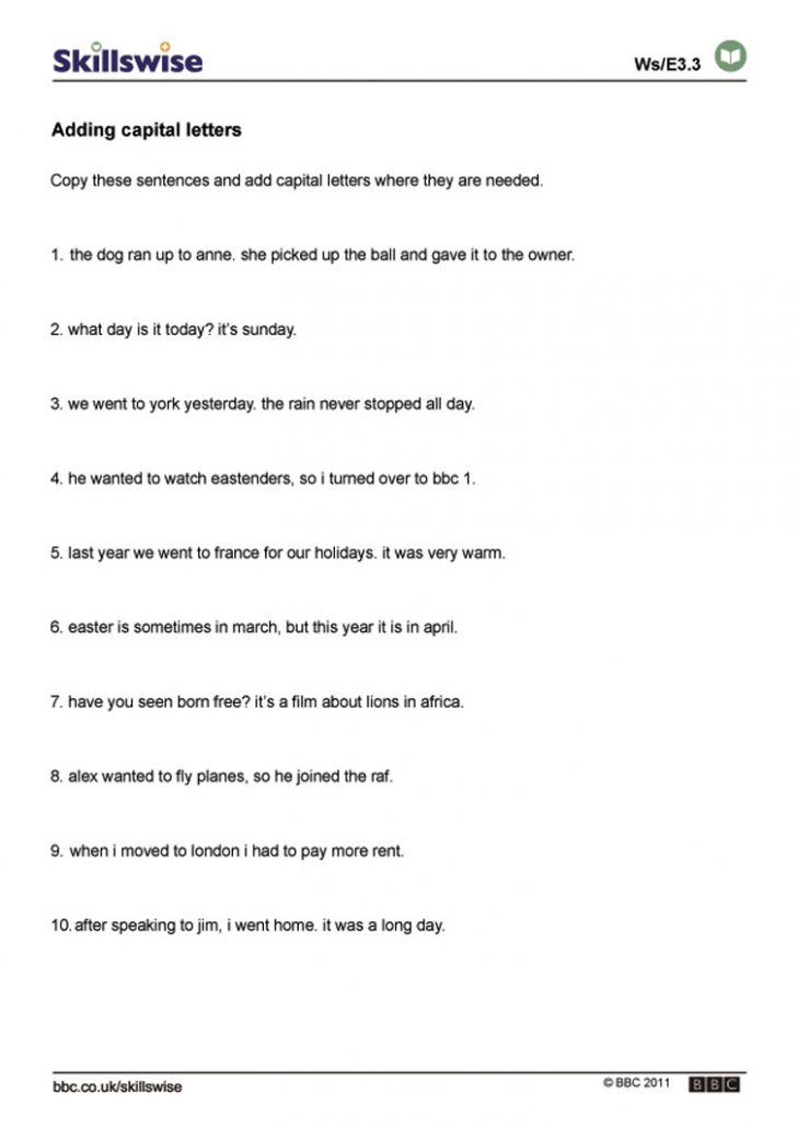 Free Printable Sentence Correction Worksheets