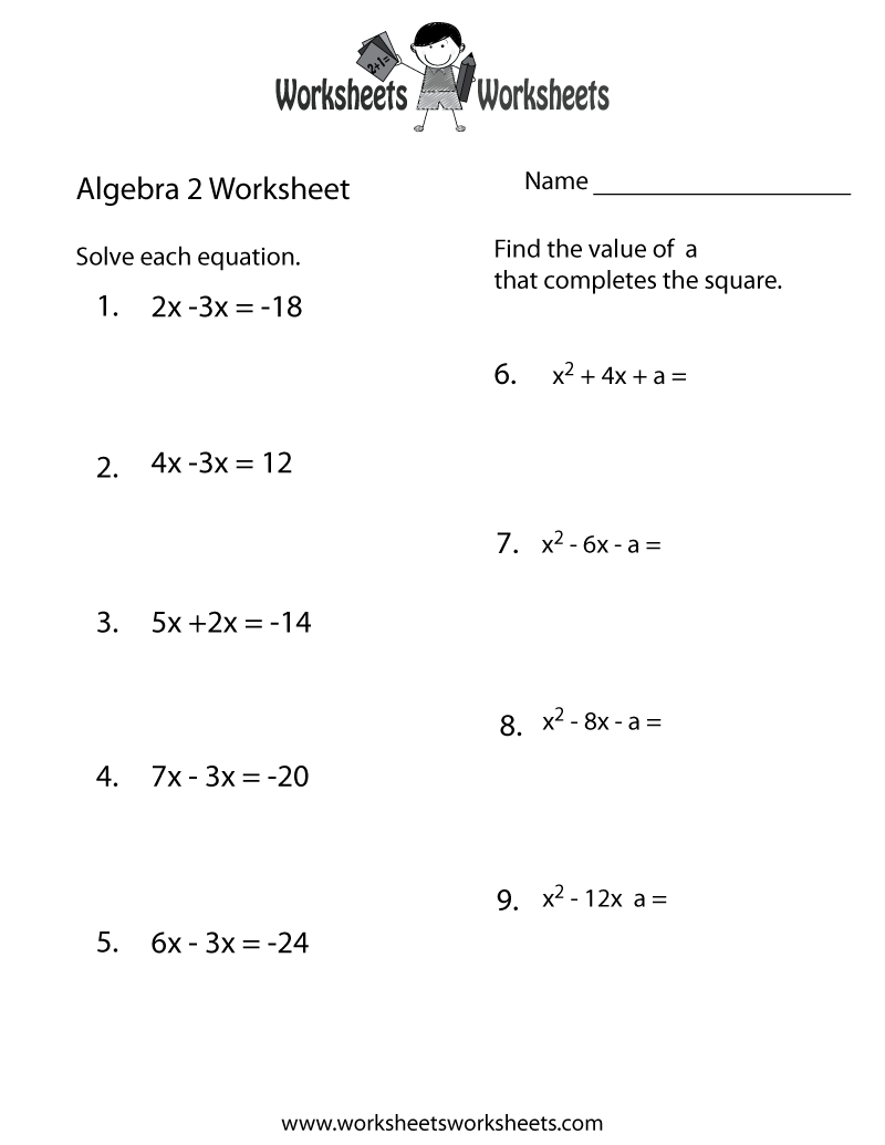 Worksheets Algebra 2 Pdf Cheatslist Free For Fun Math High School - Free Printable 5 W's Worksheets