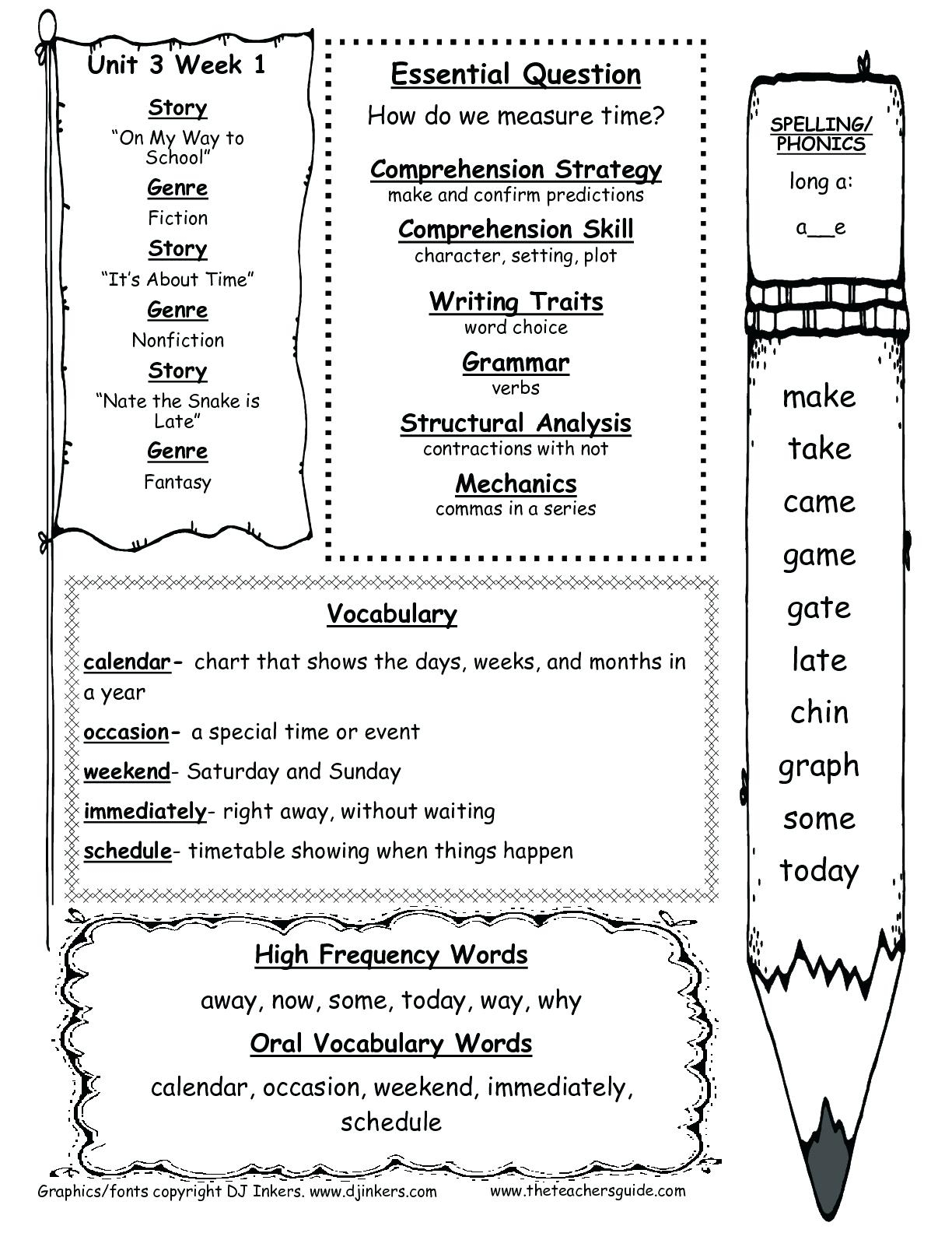 Worksheets For 1St Graders Reading First Grade Wonders Unit Three - Free Printable Worksheets For 1St Grade