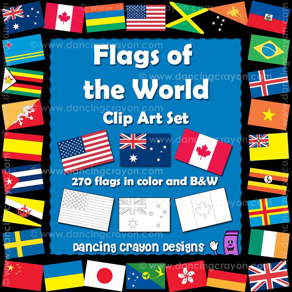 World Flags Clipart: Color And Black And White Line Art - Free Printable Pictures Of Flags Of The World