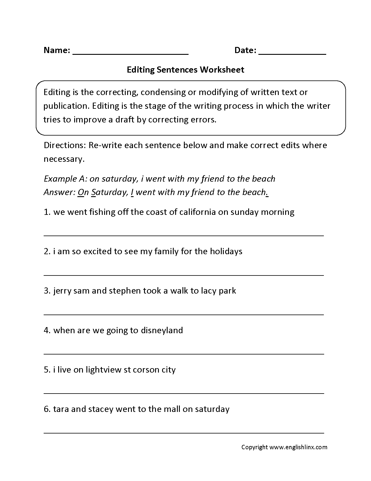 Writing Worksheets | Editing Worksheets - Free Printable Sentence Correction Worksheets