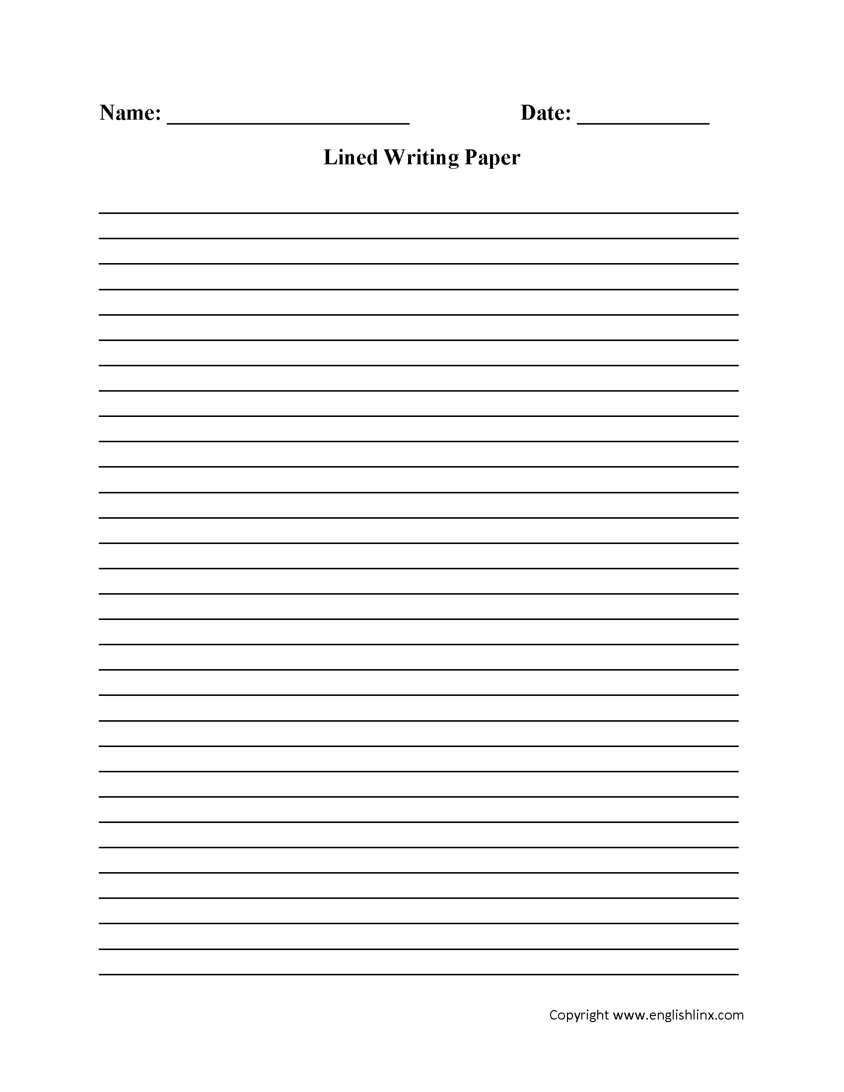 Writing Worksheets   Lined Writing Paper Worksheets - Free Printable Lined Handwriting Paper