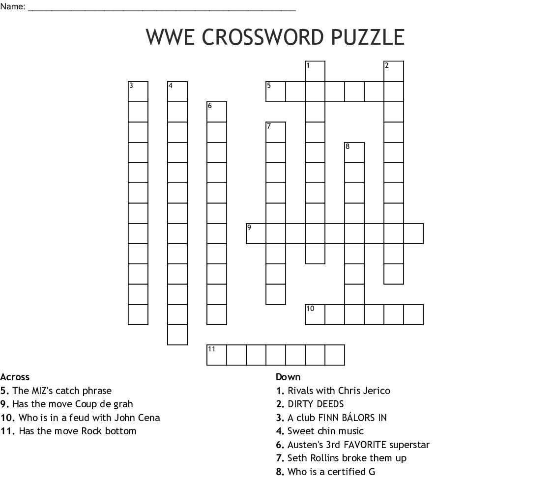 Wwe Crossword Puzzle Crossword - Wordmint - Free Printable Wwe Word Search