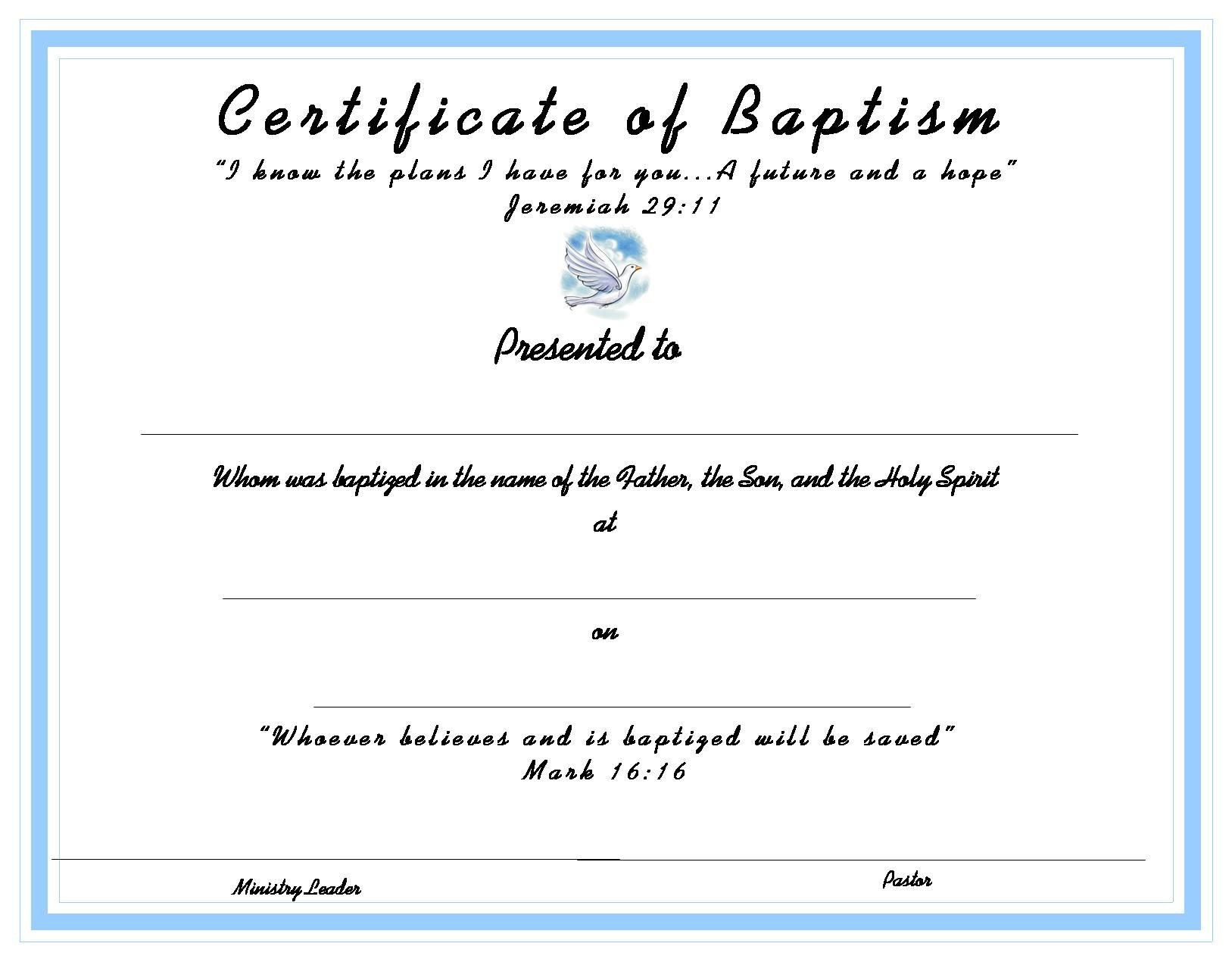 Www.certificatetemplate-Baptism Certificate For Your Kids - Free Online Printable Baptism Certificates