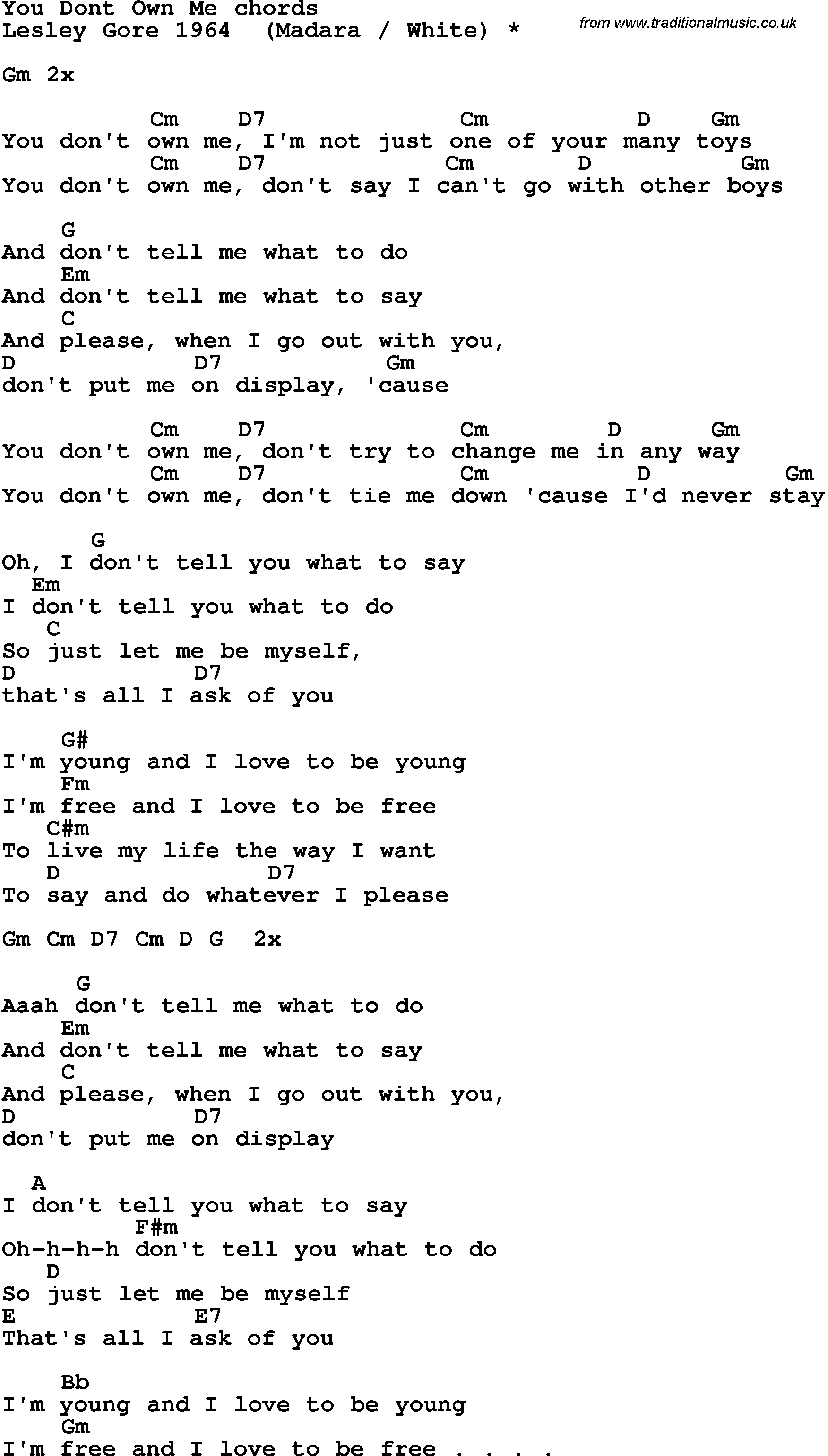 You Don't Own Me | Song Lyrics With Guitar Chords For You Don't Own - Free Printable Song Lyrics With Guitar Chords