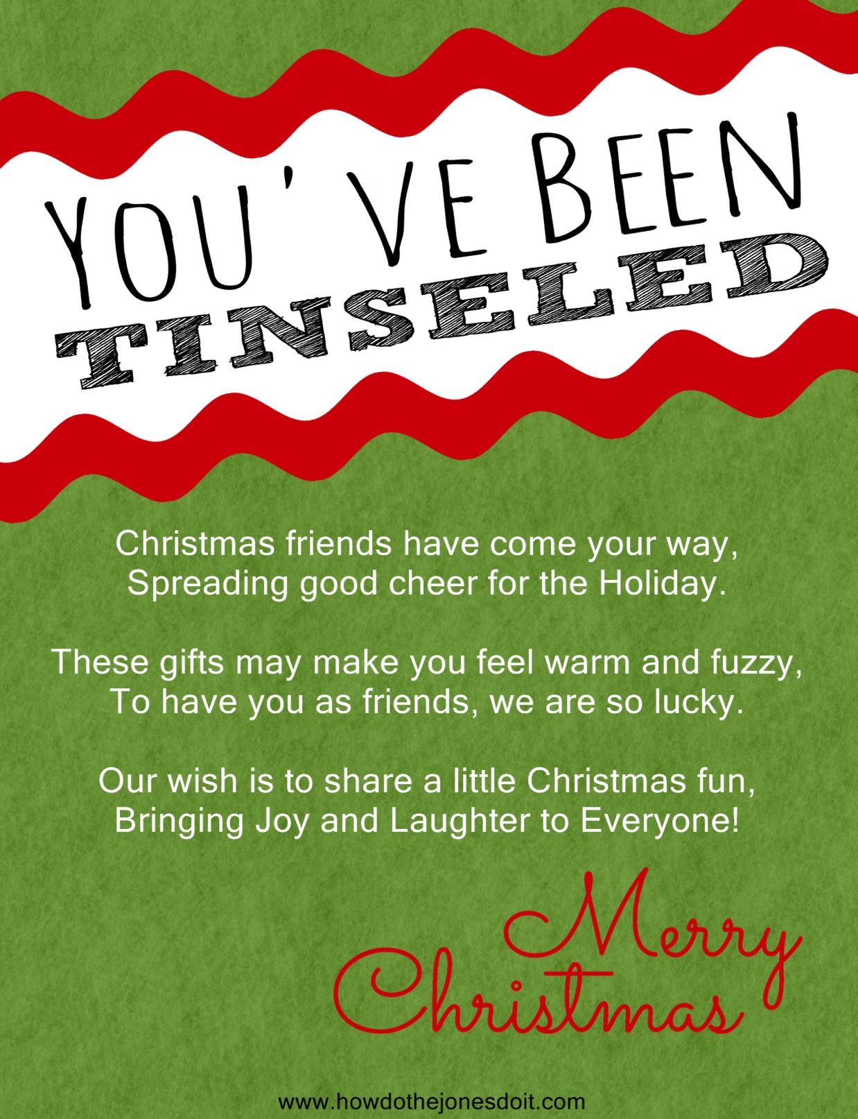You've Been Tinseled! - - You Ve Been Socked Free Printable