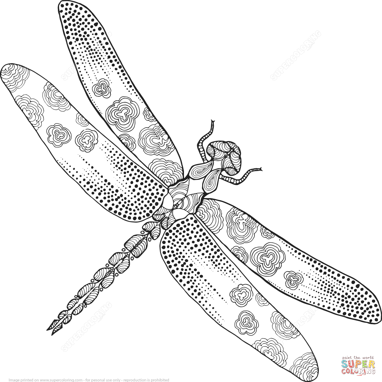 Zentangle Dragonfly Coloring Page   Free Printable Coloring Pages - Free Printable Pictures Of Dragonflies