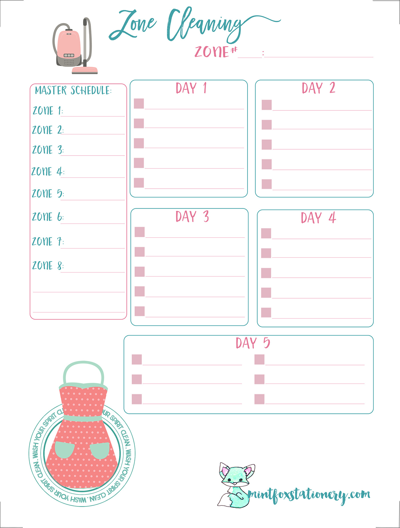 Zone Cleaning Printable Personal Size Insert - Free Printable Planner Inserts